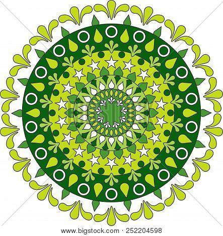 mandala circular floral color con semitonos verde agua y limon