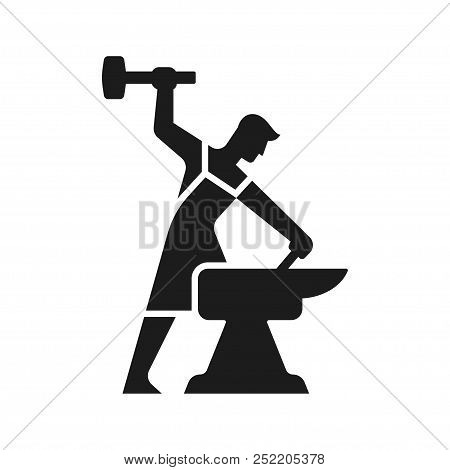 Smithy Logo. Stylized Blacksmith Silhouette Working With Hammer And Anvil. Simple Modern Vector Icon
