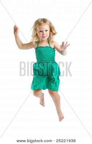 Little Girl In Studio On White Background