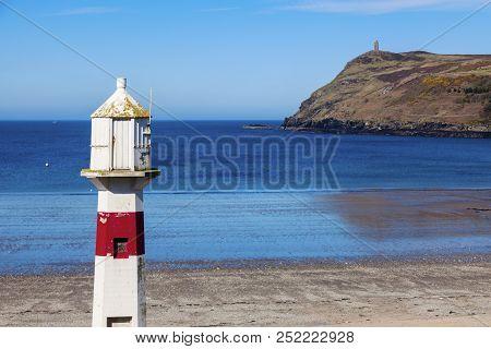 Lighthouse In Port Erin On The Isle Of Man. Port Erin, Isle Of Man.