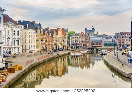 Ghent,belgium - May 21,2018 - Morning View Of The Graslei With The Leie River In Ghent. Ghent Is A C