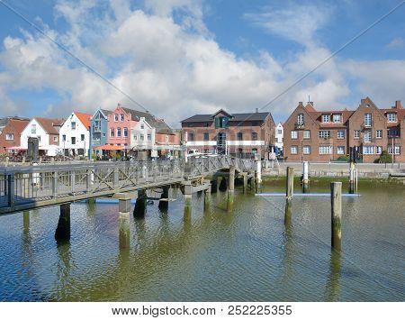 Promenade In Harbor Of Husum Called Husumer Au,north Sea,north Frisia,germany