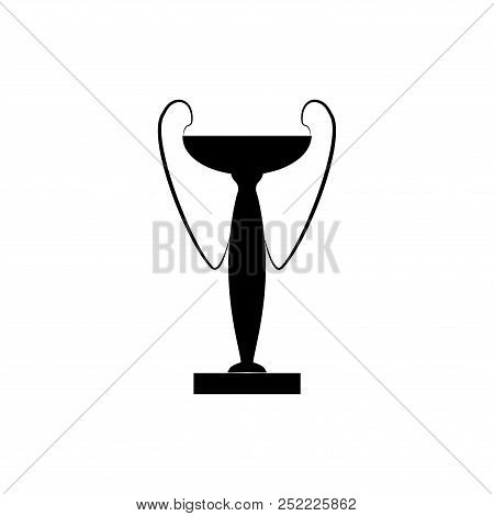 Black Cup Award Sign. Modern Symbol Of Victory And Award Achievement Champion. Leaf Ceremony Awardin