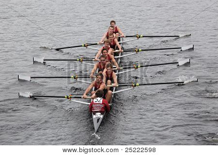 BOSTON - OCTOBER 23: Radnor Boys Crew youth men's Eights races in the Head of Charles Regatta. Marin