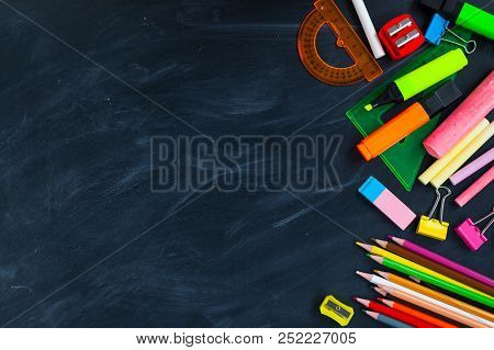 Back To School Concept. School Supplies On Blackboard Background, Accessories For The Schoolroom - P