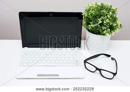 Work Place In Home Or Office - Laptop, Glasses And Plant In The Pot On The Table
