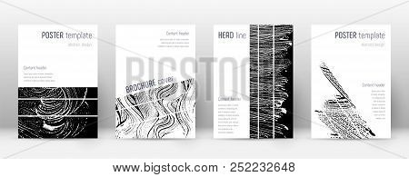 Cover page design template. Geometric brochure layout. Bizarre trendy abstract cover page. Black and white grunge texture background. Indelible poster. poster