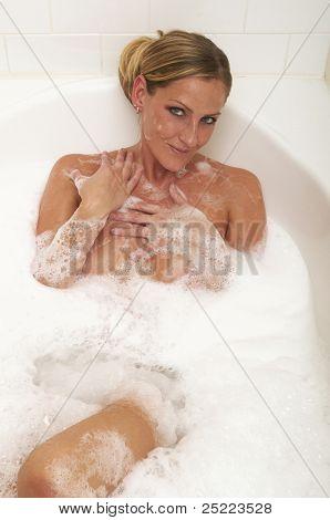 Blond In Bubble Bath