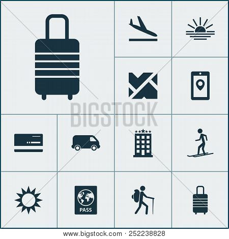 Journey Icons Set With Aircraft, Roads, Map App And Other Building Elements. Isolated Vector Illustr