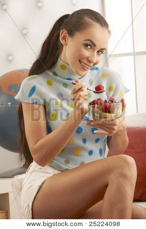 Beauty Eating Fresh Fruit