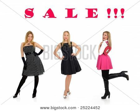 Sale. Three Pretty Shopping Woman Friends Smiling. Isolated On White
