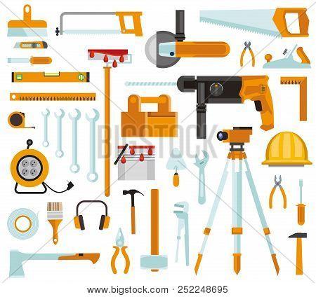 Tool Set. Set Of Construction Tools. Tool Set Repair And Construction. A Set Of Building Tools Isola