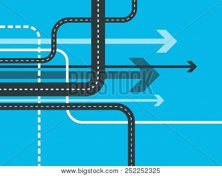 Futuristic Road Map Background. Abstract Gps Navigation Banner. Winding Road Infographic Template. R