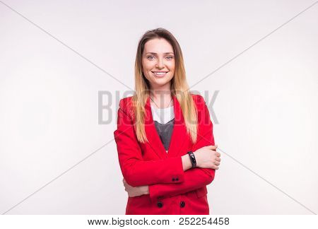 Stylish European Business Woman In A Red Jaket On White Background