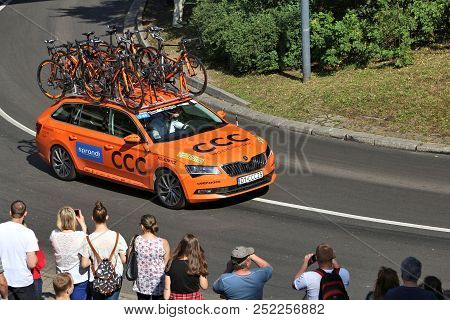 Bytom, Poland - July 13, 2016: Team Vehicle Drives In Tour De Pologne Bicycle Race In Poland. Skoda