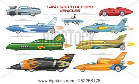 Record Speed Car Vector Landspeed Automobile And Fast Vehicle Transport On Autoshow Illustration Mac