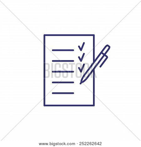 Planning Line Icon. Paper, Pen, List, Checklist, Tick. Listing Concept. Can Be Used For Topics Like