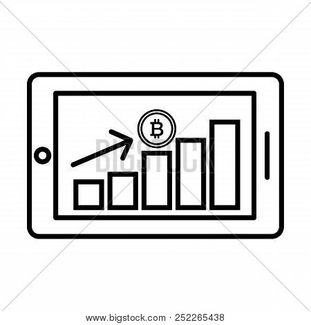 Bitcoin Financial Growth Graph. Financial Growth On Bitcoin. Vector Bitcoin Growth Graph On White Ba