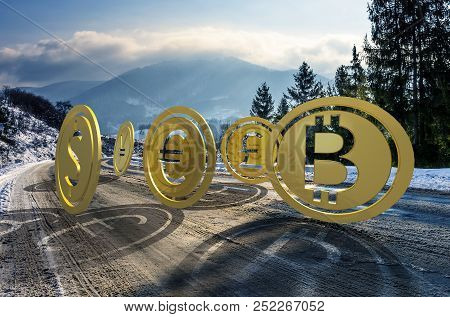 Currency Coin Race To The Top. Cold Winter Mountain Ascending Trend. Rolling Uphill To High Peaks At