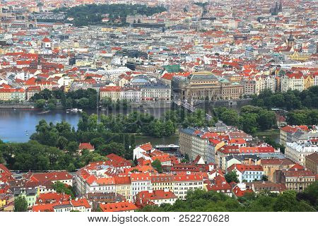 Lanscape View Of Prague, Czech Republic With Lesser Town In Foreground And Vltava River And National