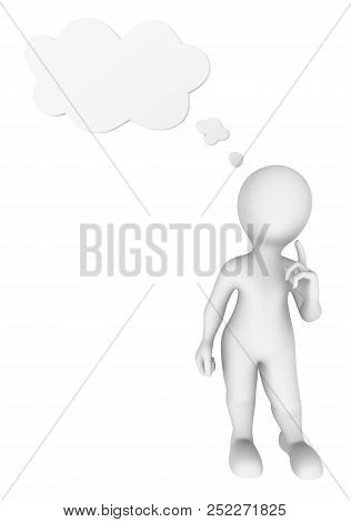 3d Man Thinking With Thought Cloud Above His Head. 3d Rendered Illustration With Small People.