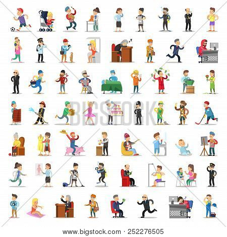 People Characters Collection. Cartoon Set Different Professions In Various Poses. Businessman, Docto