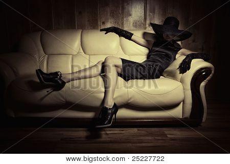 On A White Sofa