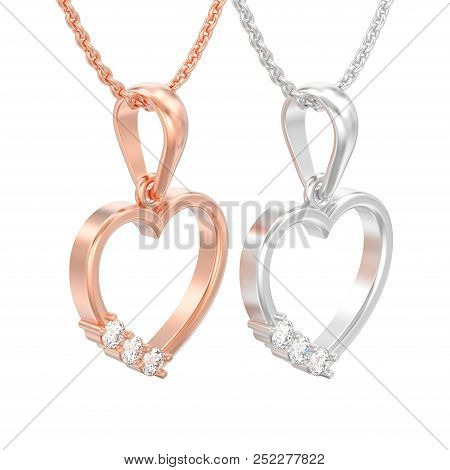 3d Illustration Isolated Two Jewelry Red Rose And White Gold Or Silver Diamond Heart Necklaces On Ch