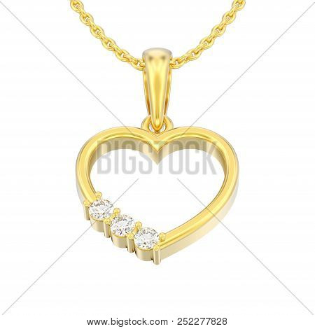 3d Illustration Isolated Jewelry Yellow Gold Diamond Heart Necklace On Chain