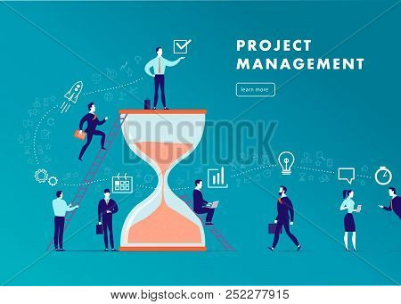 Vector Flat Minimalistic Business Illustration - Project Management, Team Work, Time Management, Bus