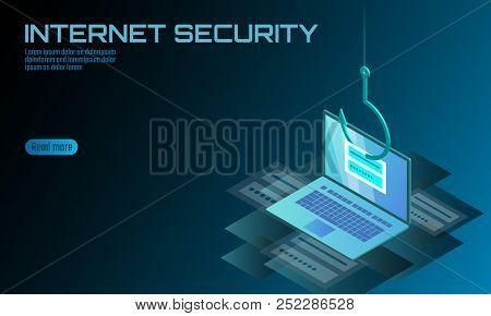 Isometric 3d Laptop Login Password Phishing. Personal Information Account Email Hacker. Spam Antivir