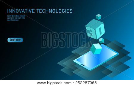 3D-enabled display smartphone concept. Stereoscopic output view isometric 3D flat business mobile phone innovation technology. Web touch screen modern camera parallax effect vector illustration poster