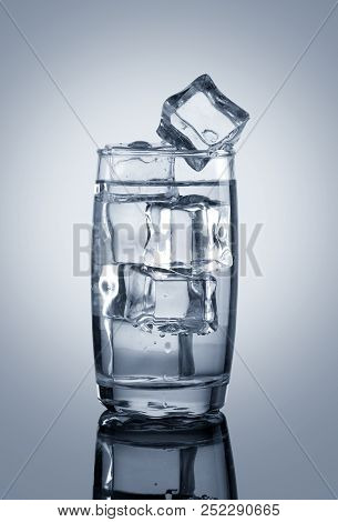 Chilled Glass Of Water With Ice Cubes