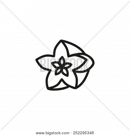 Carambola Line Icon. Starfruit, Exotic, Ripe. Fruit Concept. Vector Illustration Can Be Used For Top