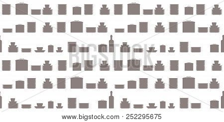 Vector Seamless Pattern Dark Gray Shapes Border Crockery Plates Casserole Cookware Cook Objects On W