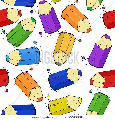 Colored Pencils Seamless Pattern. Vector Of A Seamless Pattern Of Colored Pencils. Hand Drawn Colour
