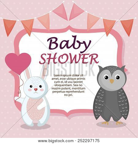 Baby Shower Card With Cute Rabbit And Owl