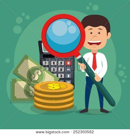 Businessman Character With Magnifying And Economy Icons