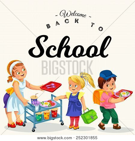 Joyous Chef Giving Out Meals On Tray To Pupils In Canteen Vector Illustration. Little Cheerful Boy A