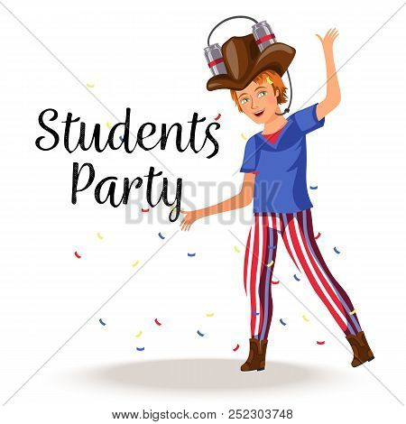 Cheerful Boy Having Fun And Dancing In Stylish Costume With Amusing Beer Hat Vector Illustration. Jo