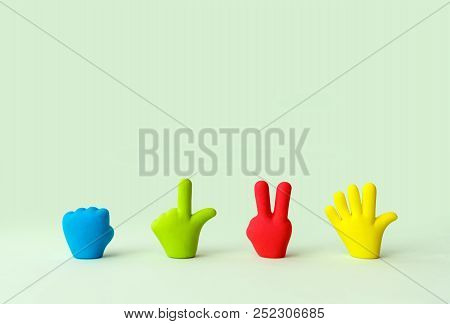 Four Colorful Cartoon Hands Set. Symbols Of Rubber Toy Hands, Isolated. Fist, Victory, Open Hand. Si