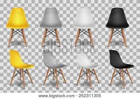 Vector Realistic 3d Illustration Of Yellow, White, Gray, Black Chairs, Isolated On Transparent Backg