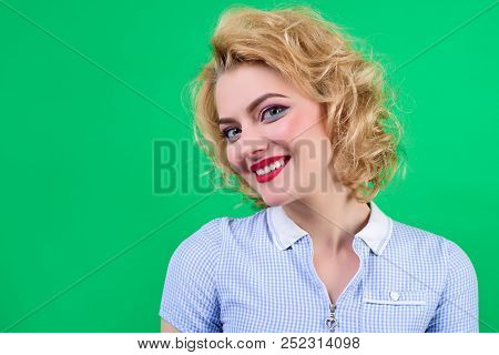 Pin Up. Woman With Bright Makeup. Retro Style. Portrait Of Smiling Satisfied Pin Up Woman. Pin-up Cl
