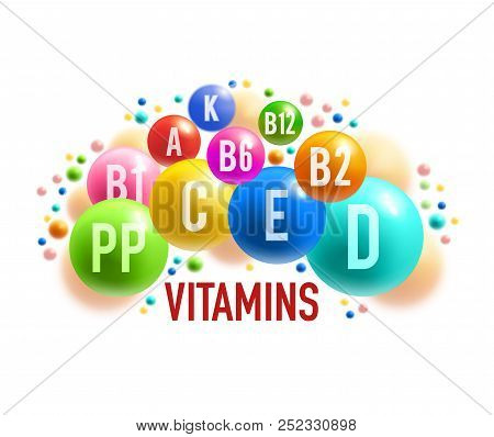 Vitamin, Mineral Banner Of Healthy Food Supplement