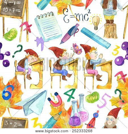 Seamless Pattern With Gnomes Pupils, Teacher And School Object On White. Back To School Watercolor I