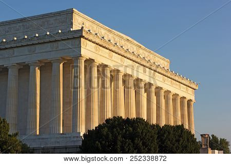 Lincoln Memorial Columns Illuminated By Early Morning Sun. The Impressive Historic Memorial Building
