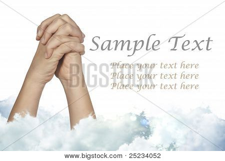 Praying Hands With Blue Cloud