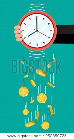 Golden Coins Falling From Clocks. Overspending, Losing, Bankruptcy, Devalue, Deficit, Losing Money.