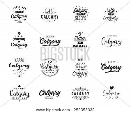 Calgary greeting vector photo free trial bigstock calgary greeting cards vector design isolated logos typography set m4hsunfo