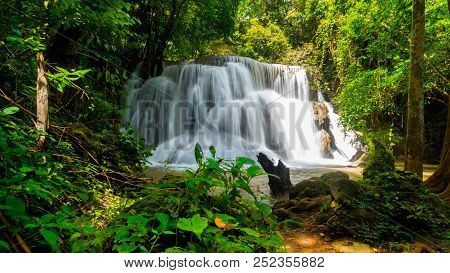 Waterfall Huay Mae Khamin,amazing Waterfall Beautiful In Nature,wild And Nature,in Kanchanaburi Prov